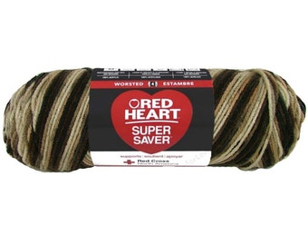 PLATOON, Red Heart Super Saver 5oz Brown variegated , 5oz acrylic yarn, Brown ombre yarn, Brown multi color worsted weight yarn, camo