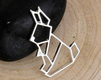Choice of Silver or Gold Plated Origami Style Bunny Charm Pendants 24 x 16mm (2Pcs) (B517ab/c)