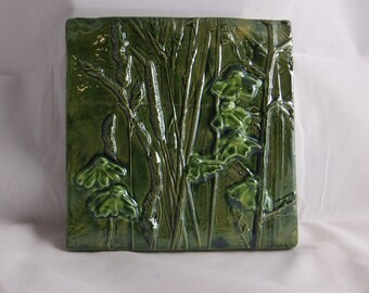 Ceramic Art Tile Wildflower 3 in Green