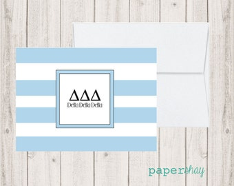 Personalized Note Cards, GREEK , Delta Delta Delta, Personalized Stationery, Personalized stationary, Monogram stationery, monogram notecard