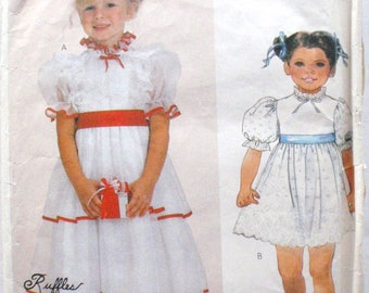 SALE - McCall's 2295 - Little Girl's Back Buttoned Dressy Dress Pattern - Size 4, Breast 23 - MISSING Neck Facing and Continuous Lap