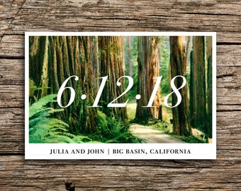 Minimalist Redwoods Postcard Save the Date // Modern Woods Save the Dates Postcards Big Sur Trees Minimal California San Francisco Cards