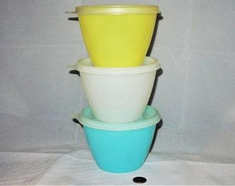 Tupperware Pastel Storage Bowls with Lids, Set of Three