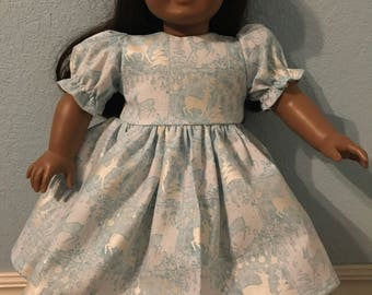 Shimmering White & Blue Winter DeerDress for American Girl or Other 18 inch Doll