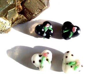 Set of 10 Pearl glass, lampwork, hearts with polka dots and a pink, black or white your choice