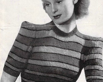 1940s Jumper ~ Beginners' Special ~ Vintage Knitting Pattern