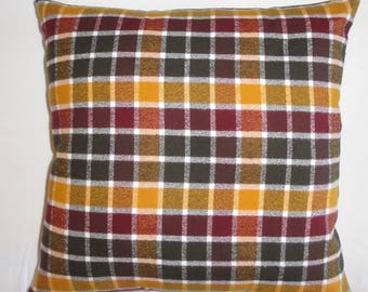 Burgundy and Gold Plaid Flannel Pillow Cover // Rustic Home Decor // Fall and Winter Pillow Cover