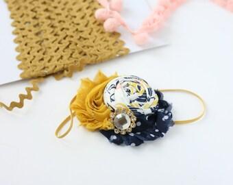 Flora Flora navy mustard rosette and chiffon flower headband bow M2M willowbee
