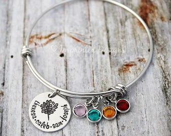 Personalized Bangle - Family Tree Bracelet - Mother's Bracelet - Birthstone Jewelry - Custom Name Jewelry - Tree of Life