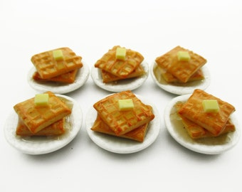 Dolls House Miniatures Food 6 American Butter Waffle Ceramic Plate Supply Charms 13818