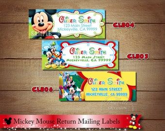 Clubhouse Return Address Stickers, Clubhouse Return Address Labels, Mickey Mouse Return Address Labels, Printable Address Labels, DIY