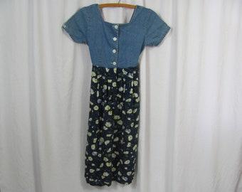 Super Cute Vintage 90s Denim Bodice Top Floral Cotton Dress