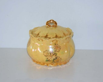 Yellow Iridescent Ceramic Pottery Covered Jar Floral and Wheat Design with Gold Accents