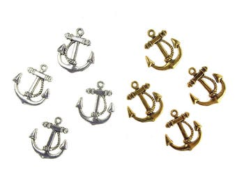 Metal Nautical Anchor Charms, 3/4-Inch, 36-Count