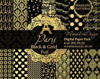 Paris Digital Paper Pack Valentines Day Patterns Love Romance Hearts Eiffel Tower Printable Planner Backgrounds Gold Foil Wedding Scrapbook