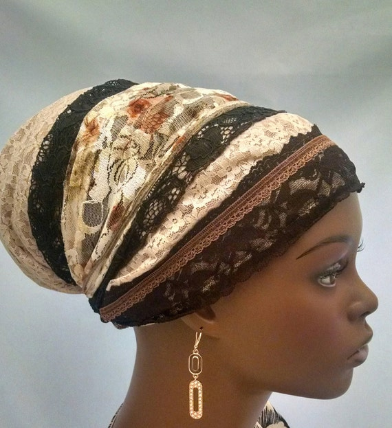 Cream and brown lace sinar tichel, tichels, chemo scarves, head scarves