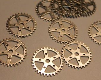 x 1 charm - COG - metal gear mechanism - customized Jewelry Silver