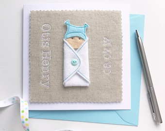 Personalised Baby Boy Card - Name and Birth Date - New Baby Boy Card - New Baby Boy - New Baby Gift - Baby Shower Gift - Personalized
