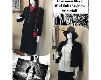 SALE  Vintage 80s HERBERT Grossman Cynthia Sobel Black 2 Pc Jacket Skirt Lined Wool Suit Sz 14