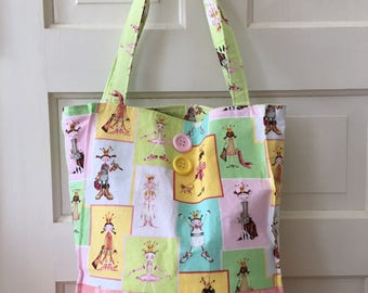 Women's or Girl's Large Tote Bag, Pastel Novelty Print Large Bag, Beach Bag, Girl's Tote Bag, Large Purse, Diaper Bag, Large Fabric Purse,