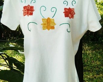 Tshirt hand embroidered yellow red flowers, handmade embroidery shirt, mexican embroidery, tehuana flowers
