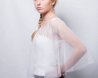 White poncho, white cloak, Bridal poncho, transparent poncho, poncho, wedding