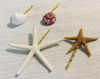 Mermaid Hair Accessories + Starfish Hair Pins + Beach Wedding + Bridal Hairpiece + Flower Girl + Sea Shells + Set of 4 + Bobby Pins  + Beach
