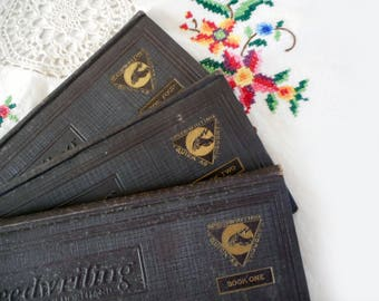 1920s Speedwriting Books Natural Shorthand How To Hardcover Books 1, 2, and 3 Write Faster Taking Notes 1920s Vintage Paper Pages Words