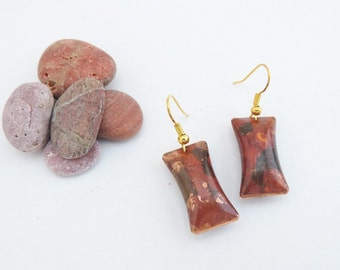 Cushion shaped Dangle Earrings - Flame Colored Copper - Simple and Lightweight earrings