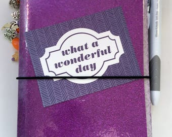Free Shipping, B6 Laminated Purple Sparkle Traveler's Notebook, Journal, Planner, TN, BUJO (5x7)