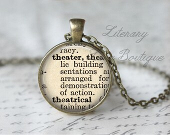 Theatre, Dictionary Definition Quote Necklace or Keyring, Keychain.