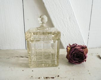Vintage Kristalldose  Rarität antik Deckeldose