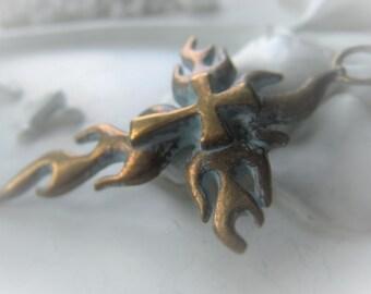 Cross Pendant Brass Verdis Gris Brass Cross Crusader Cross Pendant Item No.  0959 4760