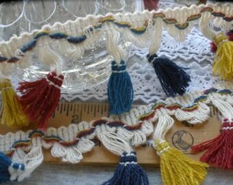 "Fiesta Colors Tassel Loop Fringe trim 1 7/8"" wide cotton Teal Gold Brick Red Blue retro sewing crafts costume home decor boho hippie"