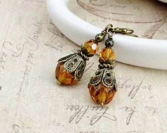 Topaz Earrings, Light Brown Earrings, Gold Earrings, Golden Earrings, Czech Glass Beads, Vintage Look Earrings, Victorian Earrings, Gifts