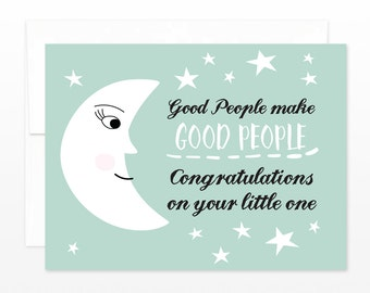 Cute New Baby Card, Moon Baby Greeting Card - Congratulations Card, Sweet New Baby Card, New Parents Card, Birth Announcement Card