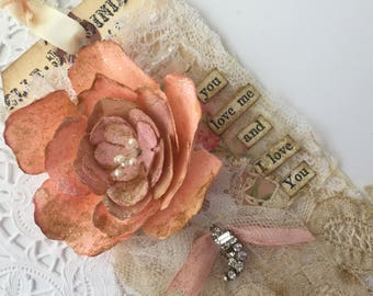 Rose Gift Tag, Shabby Tag, Mixed Media Art Tag, French Gift Tag