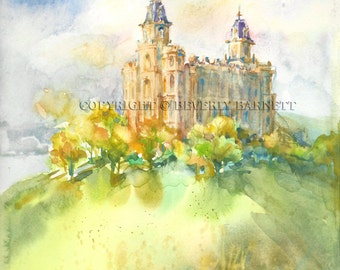 Manti LDS Temple ---- Top-Quality 16 x 20 Print of an Original Watercolor Painting