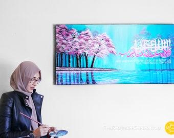 Islamic art, islamic painting, pink cherry blossom trees, pink trees, islamic Calligraphy