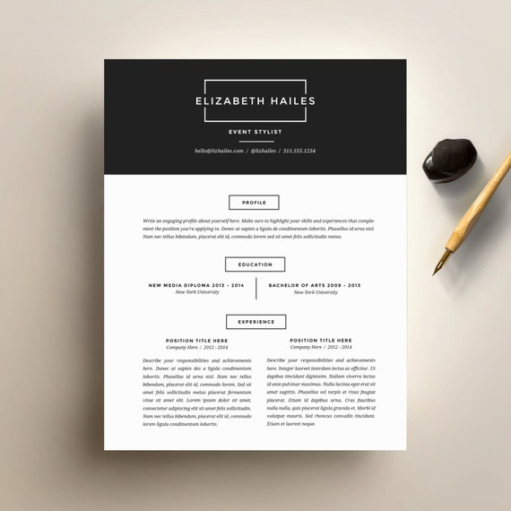 resume template and cover letter template for word diy printable resume 4 pack the elizabeth minimalist and hipster cv design