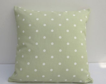 Polka dot Cushion Cover, green polka dot Pillow  Cover, Sage green pillow cover, sage green dotty cushion cover,  Sizes 14 Up to 20In