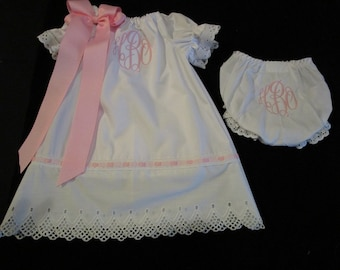 Girl Monogrammed White Eyelet Dress with Diaper Cover Portrait Baby Dedication Baptism Christening Dress