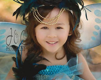 Fairy Princess Costume - Girls Fairy Dress - Woodland Fairy - Fairy Outfit - Fairy wings - Fairy Tutu Dress - Fairy Crown - Blue Fairy