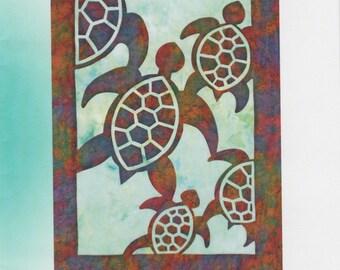 Herd of Turtles Quilt Pattern, Hawaiian Appliqué, Pacific Rim Quilting DIY