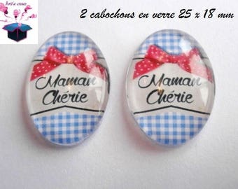 2 cabochons glass 25mm x 18mm theme mother's day.