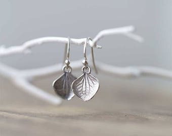 Silver Petal Earrings / Rustic Botanical Jewelry / Small Sterling Silver Earrings