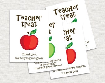teacher thank you gift tags - printable diy download - teacher appreciation gift apple, classroom gift, kids, gifts for teacher, decoration
