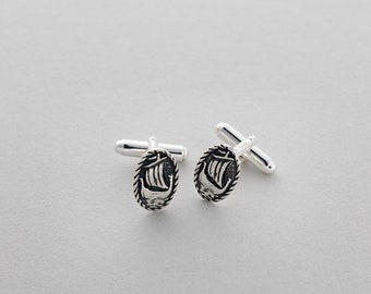 Oval Galley Cufflinks - Sterling Silver Cufflinks by Aosdàna, Isle of Iona.