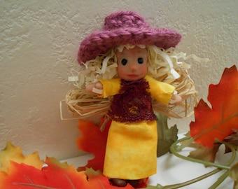 Ooak Art Scarecrow Autumn Harvest Angel Doll.