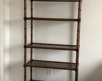 Faux bamboo regency style bookcase/etagere